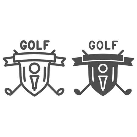 Golf logo with golfball and crossed sticks line and solid icon, sport concept, Golf club emblem sign on white background, shield with golf ball on tee and clubs icon in outline style. Vector graphics.