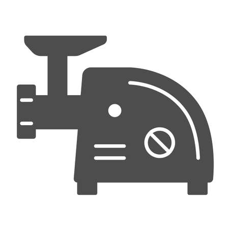 Electric meat grinder solid icon, Kitchen appliances concept, Meat mincer sign on white background, mincing machine icon in glyph style for mobile concept and web design. Vector graphics.