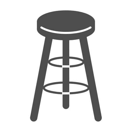 Bar stool solid icon, Kitchen furniture concept, Bar chair sign on white background, High chair icon in glyph style for mobile concept and web design. Vector graphics.