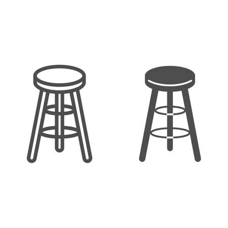 Bar stool line and solid icon, Kitchen furniture concept, Bar chair sign on white background, High chair icon in outline style for mobile concept and web design. Vector graphics.