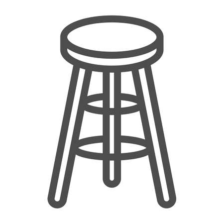 Bar stool line icon, Kitchen furniture concept, Bar chair sign on white background, High chair icon in outline style for mobile concept and web design. Vector graphics.