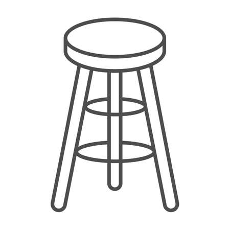 Bar stool thin line icon, Kitchen furniture concept, Bar chair sign on white background, High chair icon in outline style for mobile concept and web design. Vector graphics.