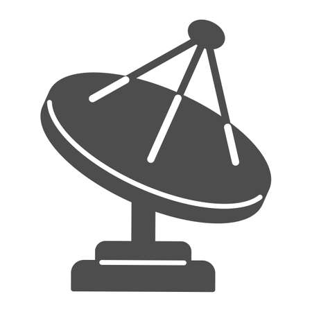 Radio telescope solid icon, space concept, satellite dish sign on white background, Satellite antenna icon in glyph style for mobile concept and web design. Vector graphics.