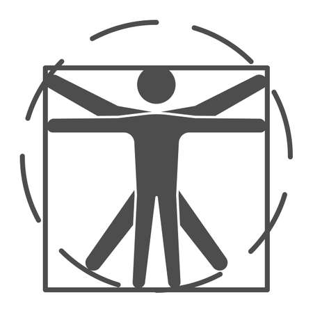 Leonardo Da Vinci Vitruvian Man solid icon, science concept, Human body in circle and square sign on white background, classic proportion man form icon in glyph style. Vector graphics.