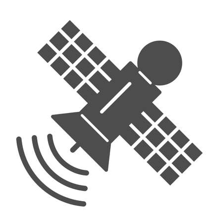 Space station solid icon, space concept, communication satellite sign on white background, Orbiting space station icon in glyph style for mobile concept and web design. Vector graphics.