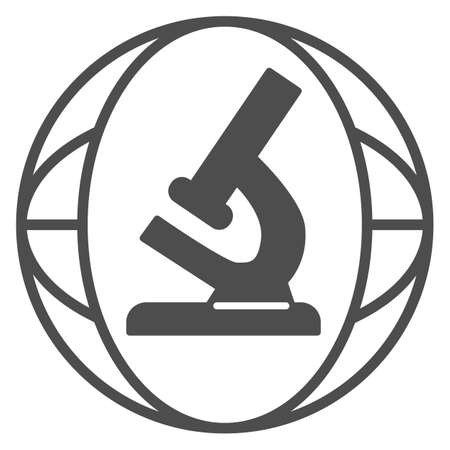 Microscope solid icon, science concept, Biochemistry and microbiology equipment sign on white background, laboratory microscope icon in glyph style for mobile and web. Vector graphics. Ilustracja