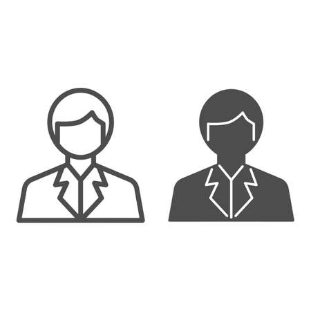 Scientist line and solid icon, science concept, Chemist sign on white background, Scientist Avatar icon in outline style for mobile concept and web design. Vector graphics. Ilustracja
