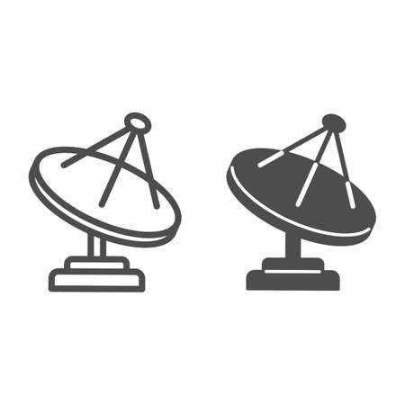 Radio telescope line and solid icon, space concept, satellite dish sign on white background, Satellite antenna icon in outline style for mobile concept and web design. Vector graphics.