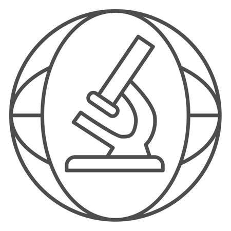Microscope thin line icon, science concept, Biochemistry and microbiology equipment sign on white background, laboratory microscope icon in outline style for mobile and web. Vector graphics.