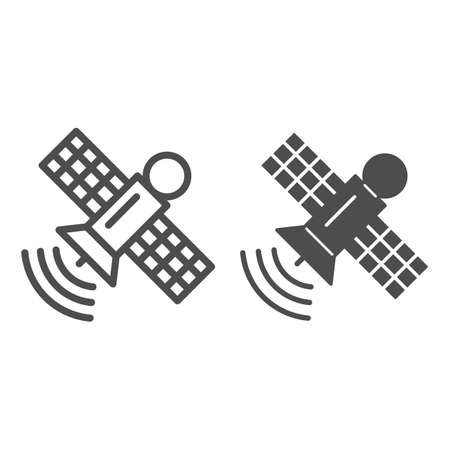 Space station line and solid icon, space concept, communication satellite sign on white background, Orbiting space station icon in outline style for mobile concept and web design. Vector graphics.