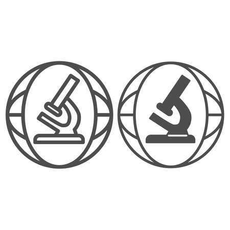 Microscope line and solid icon, science concept, Biochemistry and microbiology equipment sign on white background, laboratory microscope icon in outline style for mobile and web. Vector graphics.