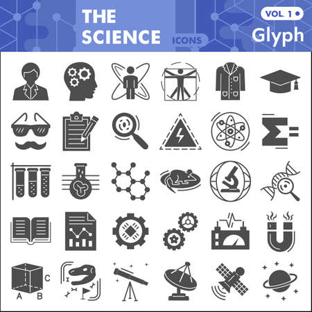 Science solid icon set, Chemistry symbols collection or sketches. Science research glyph style signs for web and app. Vector graphics isolated on white background.