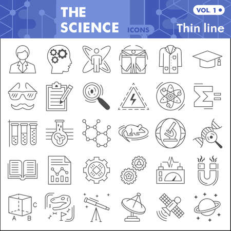Science thin line icon set, Chemistry symbols collection or sketches. Science research linear style signs for web and app. Vector graphics isolated on white background. Ilustracja