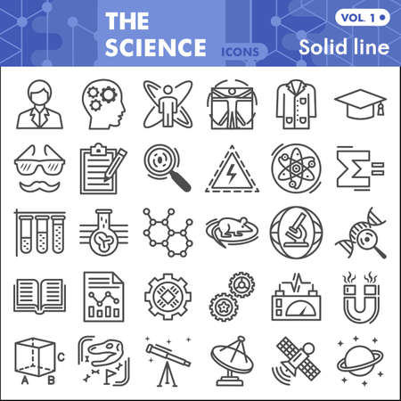 Science line icon set, Chemistry symbols collection or sketches. Science research linear style signs for web and app. Vector graphics isolated on white background. Ilustracja