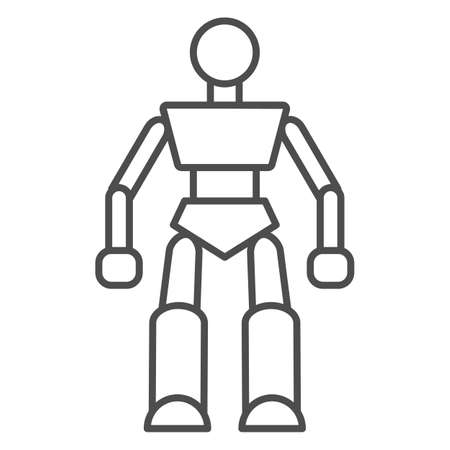 Robot thin line icon, Kids toys concept, Robotics sign on white background, Robot Baby Toy icon in outline style for mobile concept and web design. Vector graphics.