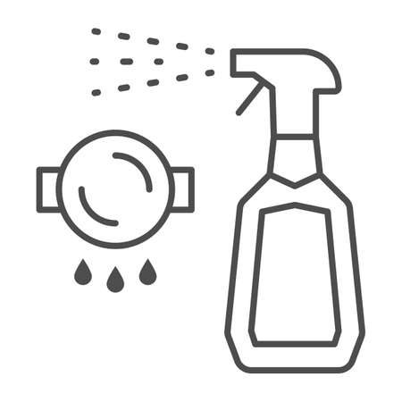 Bottle spray cleaner thin line icon, Cleaning tools concept, spray for grease sign on white background, detergent liquid soap in plastic bottle icon in outline style for mobile. Vector graphics.