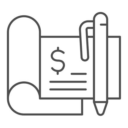 Financial check thin line icon, Payment problem concept, checkbook sign on white background, Bank check with dollar and pen icon in outline style for mobile concept, web design. Vector graphics.