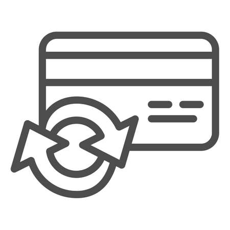 Credit card with round arrow line icon, banking concept, credit card reissue sign on white background, Cashback service symbol in outline style for mobile and web design. Vector graphics.