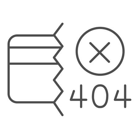 Credit card and communication error thin line icon, Payment problem concept, payment failure sign on white background, Credit card with 404 error icon in outline style. Vector graphics.