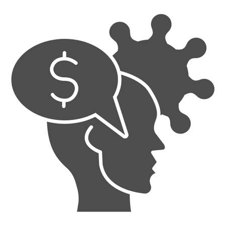 Human head with dollar and virus solid icon, finance problems concept, Money Idea sign on white background, Money in person mind and bacteria cell icon in glyph style. Vector graphics. Illustration