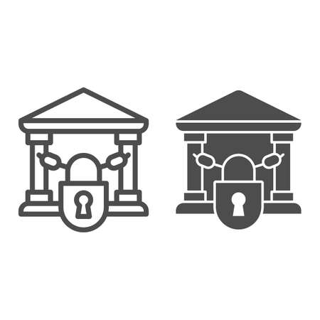 Closed bank with lock line and solid icon, Banking concept, chains in building sign on white background, bank closed on lock with chains icon in outline style for mobile and web. Vector graphics.