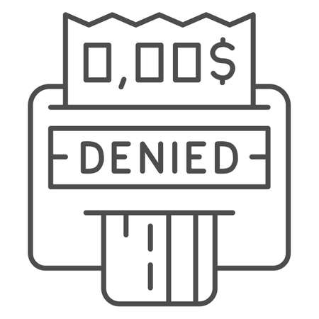 Denied payment on terminal with card thin line icon, Payment problem concept, terminal with credit card sign on white background, Cancellation purchase in POS terminal icon outline style. Vector.