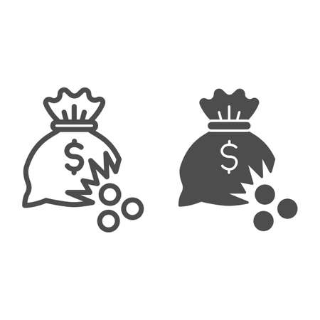 Bag of money with hole and coins line and solid icon, financial problem concept, leaking coins from torn money bag sign on white background, Hole in moneybag icon in outline style. Vector graphics.