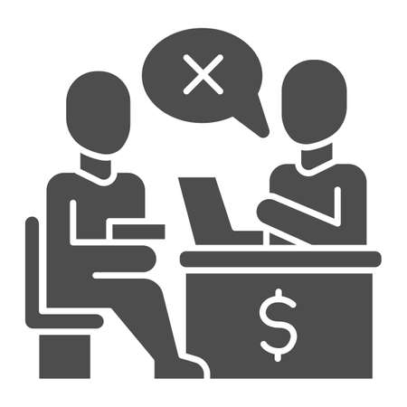 Bank manager refuses a loan for person solid icon, Payment problem concept, Loan refusal sign on white background, refuse in credit icon in glyph style for mobile and web. Vector graphics. Illustration