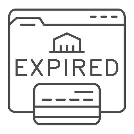 Expired card on website thin line icon, Payment problem concept, Card declined sign on white background, web page with bank card and expired text icon in outline style. Vector graphics.