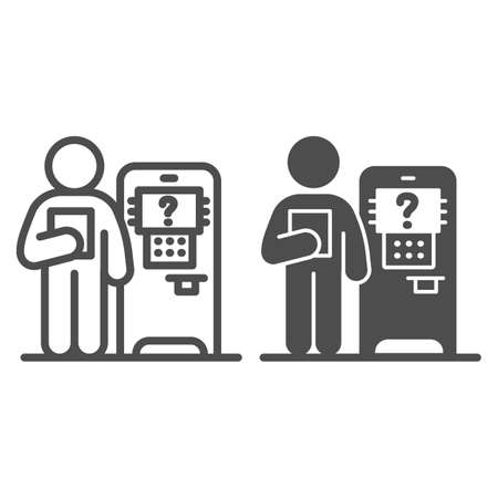 Consultant and ATM line and solid icon, Banking services concept, Bank worker sign on white background, employee of bank near ATM icon in outline style for mobile concept, web design. Vector graphics.
