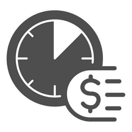 Clock and dollar solid icon, Payment problem concept, Time is a money sign on white background, deadline for payment icon in glyph style for mobile concept and web design. Vector graphics.
