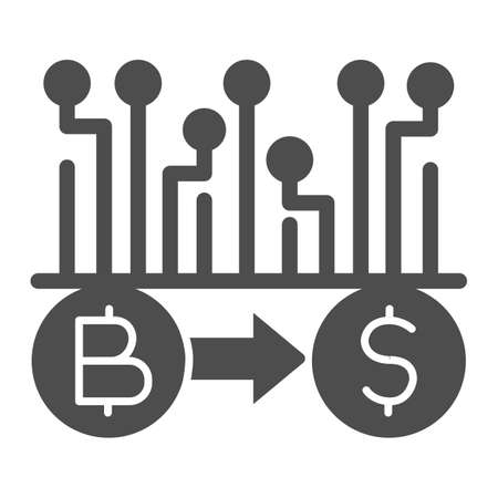 Convert Bitcoin to dollar solid icon, Cryptocurrency technology concept, bitcoin exchange, bitcoin mining sign on white background, Currency conversion icon in glyph style. Vector graphics.