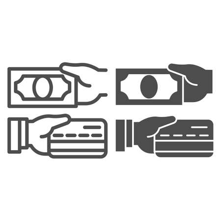 Cash and bank card in hands line and solid icon, Payment problem concept, payment methods sign on white background, hand with credit card and cash icon in outline style for mobile. Vector graphics.