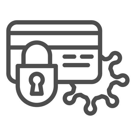 Blocked card and virus line icon, Payment problem concept, bank card with lock and bacteria cell sign on white background, security lock on card with virus icon in outline. Vector graphics. Illustration