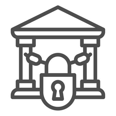 Closed bank with lock line icon, Banking concept, chains in building sign on white background, bank closed on lock with chains icon in outline style for mobile and web. Vector graphics.