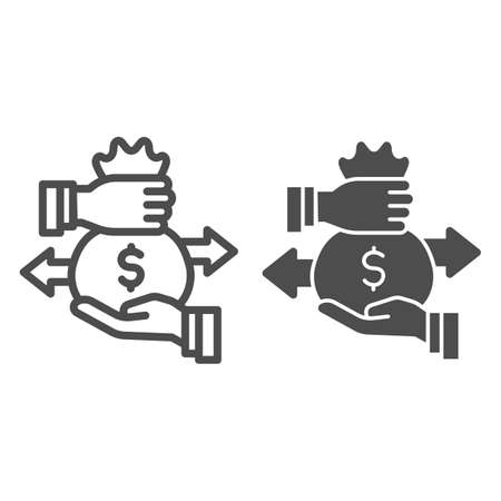 Hands and bag with money and arrows line and solid icon, Investment concept, Bag of money with dollar sign on white background, businessman hand hold money bag icon in outline style. Vector graphics. Illustration