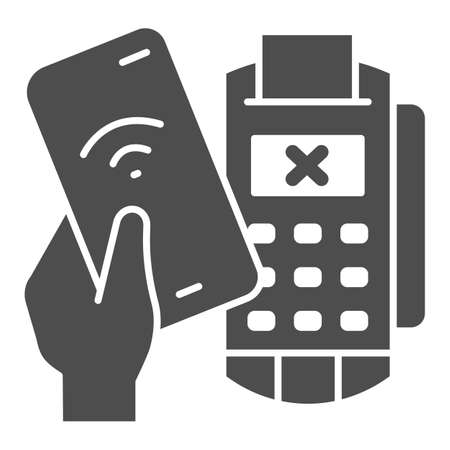 Smartphone in hand and payment terminal solid icon, Payment problem concept, declined mobile payment sign on white background, Cancellation purchase in POS terminal icon in glyph. Vector.