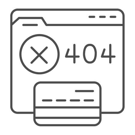 Web site without access and credit card thin line icon, Payment problem concept, payment failure sign on white background, Credit card with 404 error on webpage icon in outline. Vector graphics.