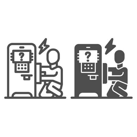 Person repair ATM line and solid icon, Payment problem concept, technician repairs ATM sign on white background, repairman and broken payment terminal icon in outline style. Vector graphics.