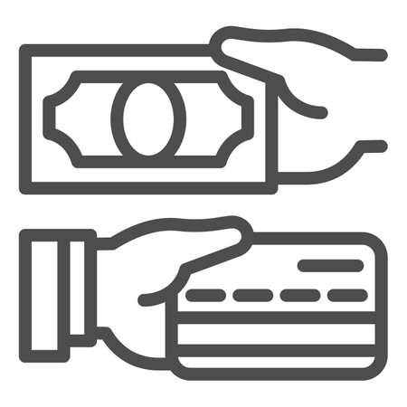 Cash and bank card in hands line icon, Payment problem concept, payment methods sign on white background, hand with credit card and cash icon in outline style for mobile. Vector graphics.