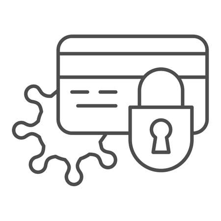 Blocked card and virus thin line icon, Payment problem concept, bank card with lock and bacteria cell sign on white background, security lock on card with virus icon in outline. Vector graphics. Illustration