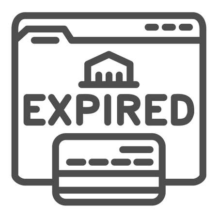 Expired card on website line icon, Payment problem concept, Card declined sign on white background, web page with bank card and expired text icon in outline style. Vector graphics.