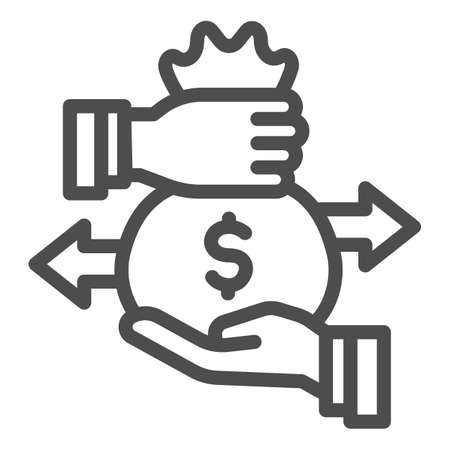 Hands and bag with money and arrows line icon, Investment concept, Bag of money with dollar sign on white background, businessman hand hold money bag icon in outline style. Vector graphics.
