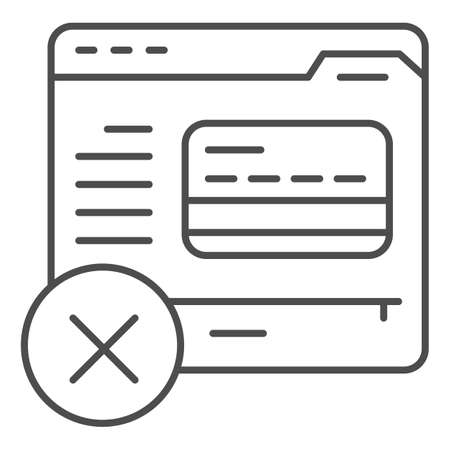 Website and bank card thin line icon, Payment problem concept, online shopping sign on white background, plastic card on web page with cross icon in outline style for mobile. Vector graphics. Illustration