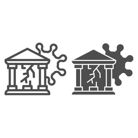 Bank with crack and virus line and solid icon, Payment problem concept, Business finance crisis sign on white background, building with crack and bacteria cell icon in outline style. Vector graphics.