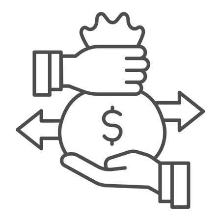 Hands and bag with money and arrows thin line icon, Investment concept, Bag of money with dollar sign on white background, businessman hand hold money bag icon in outline style. Vector graphics.