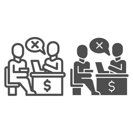 Bank manager refuses a loan for person line and solid icon, Payment problem concept, Loan refusal sign on white background, refuse in credit icon in outline style for mobile and web. Vector graphics. Vektorgrafik