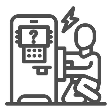 Person repair ATM line icon, Payment problem concept, technician repairs ATM sign on white background, repairman and broken payment terminal icon in outline style. Vector graphics. Иллюстрация