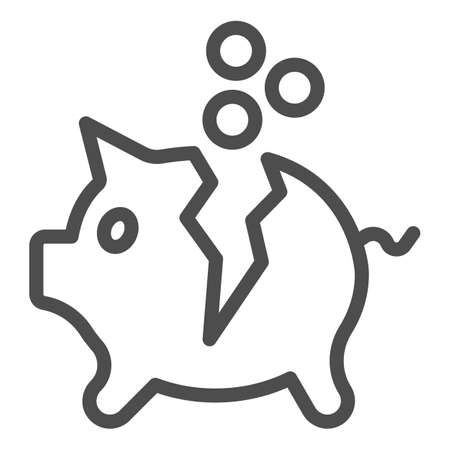 Broken piggy bank with coins line icon, Payment problem concept, Moneybox sign on white background, Piggy bank with money icon in outline style for mobile and web design. Vector graphics. Illustration