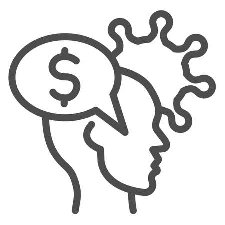 Human head with dollar and virus line icon, finance problems concept, Money Idea sign on white background, Money in person mind and bacteria cell icon in outline style. Vector graphics.